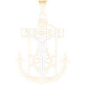 14K Yellow & White 32x24 mm Mariner's Crucifix Pendant
