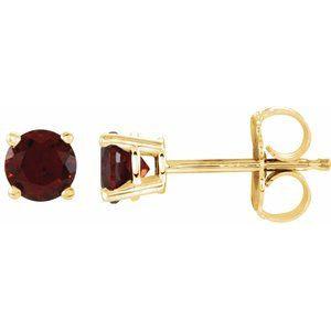 14K Yellow 4 mm Round Mozambique Garnet Earrings