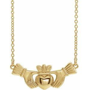 """14K Yellow Claddagh 16"""" Necklace"""