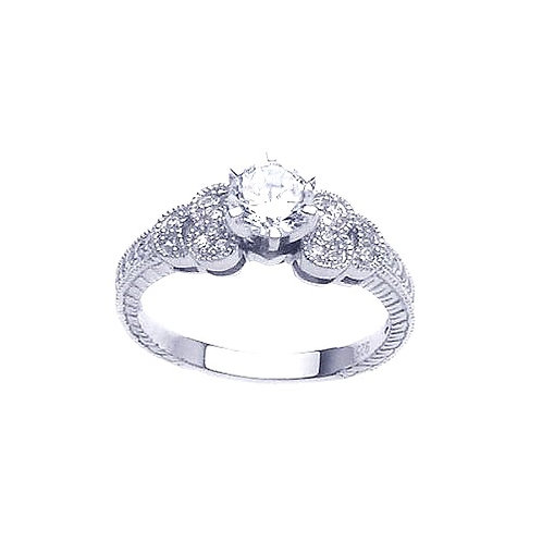 925 Rhodium Plated Pave Clear Round Center CZ Ring