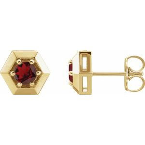 14K Yellow Mozambique Garnet Geometric Earrings