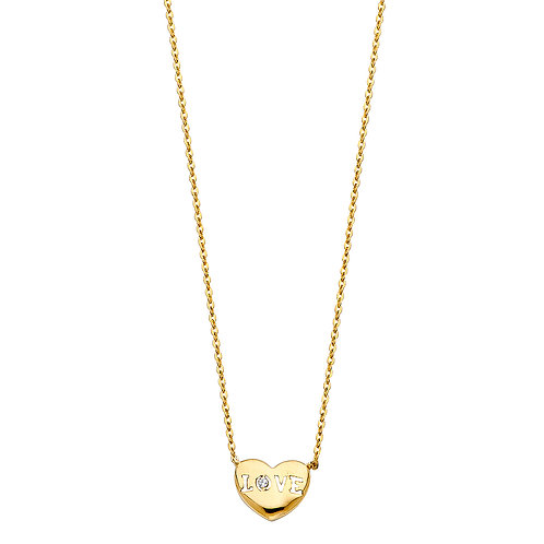 "14K Gold Fancy Heart ""Love"" Necklace"
