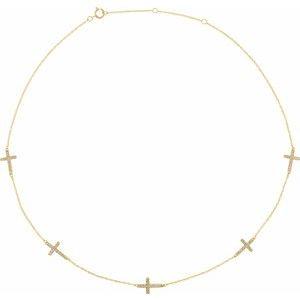 "14K Yellow 1/8 CTW Diamond 5-Station Cross Adjustable 16-18"" Necklace"