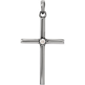 14K White 26.5x13.75 mm .02 CTW Diamond Cross Pendant