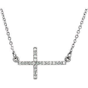 """14K White 1/10 CTW Diamond Sideways Cross 16-18"""" Necklace"""