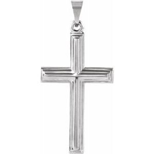 14K White 24x14 mm Cross Pendant