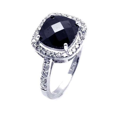 Sterling Silver Black Center and Clear CZ Cluster Ring
