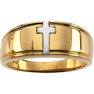 10K Yellow & White Men's Cross Band