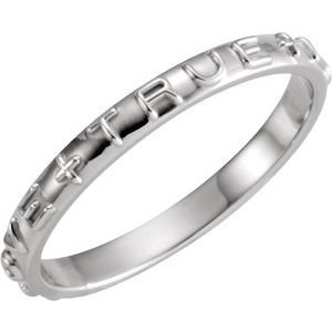 14K White True Love Chastity Ring Size 7