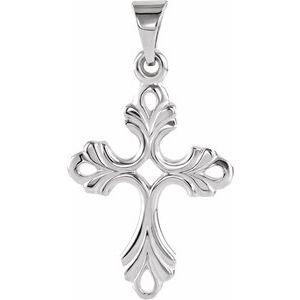 14K White 19.5x15 mm Design Cross Pendant