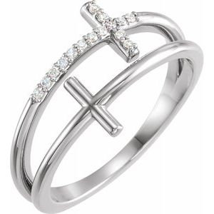 14K White .06 CTW Diamond Sideways Cross Ring