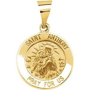14K Yellow 15 mm Round Hollow St. Anthony Medal