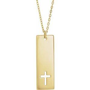 "14K Yellow Pierced Cross Engravable Bar 16-18"" Necklace"