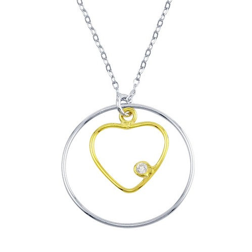 925 2 Toned Open Heart And Circle Necklace