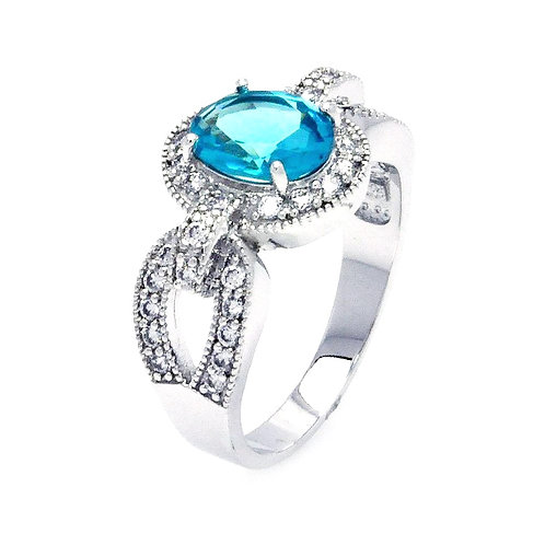 Sterling Silver Aqua CZ Engagement Ring