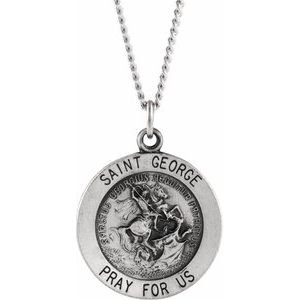 "Sterling Silver 18 mm Round St. George Medal 18"" Necklace"