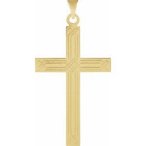 14K Yellow 22x14 mm Geometric Cross Pendant