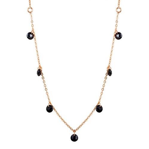 Dangling Black CZ Chain Necklace