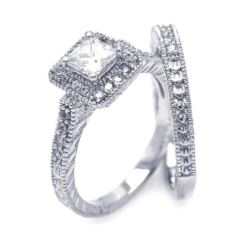 925 Rhodium Plated Pave Clear Square Cluster CZ Engagement Ring Set