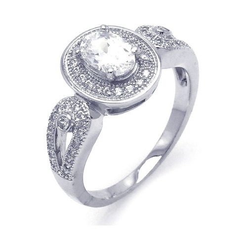 925 Rhodium Plated Micro Pave CZ Ornate Ring