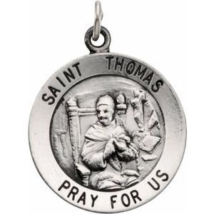 Sterling Silver 18 mm Round St. Thomas Medal