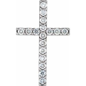 14K White 2.5 mm Round 17-Stone Cross Pendant Mounting
