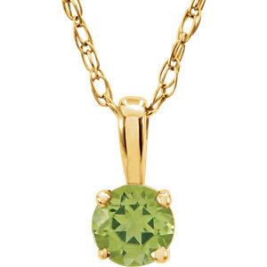 """14K Yellow Peridot 14"""" Necklace"""