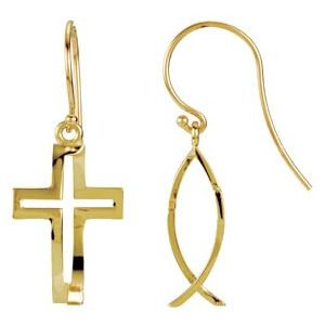 14K Yellow CrossFish™ Earrings