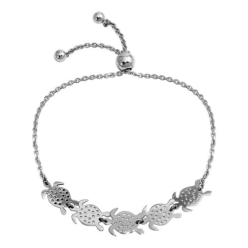 925 Rhodium Plated Turtles Lariat Bracelet