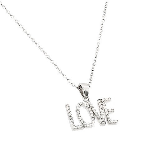 925 Clear CZ Rhodium Plated Love Pendant Necklace