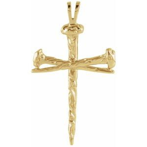 10K Yellow 34x24 mm Nail Design Cross Pendant