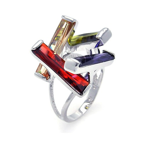 925 Rhodium Plated Multi Colored CZ Open Long Bar Ring