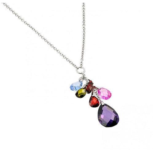 Pearl Shape Multicolor Cubic Zirconia Sterling Silver Drop Necklace Pendant