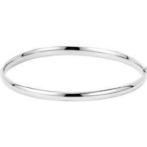 14K White 4 mm Hinged Bangle Bracelet