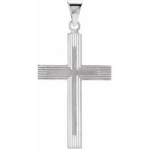 14K White 28x18 mm Cross Pendant with Design