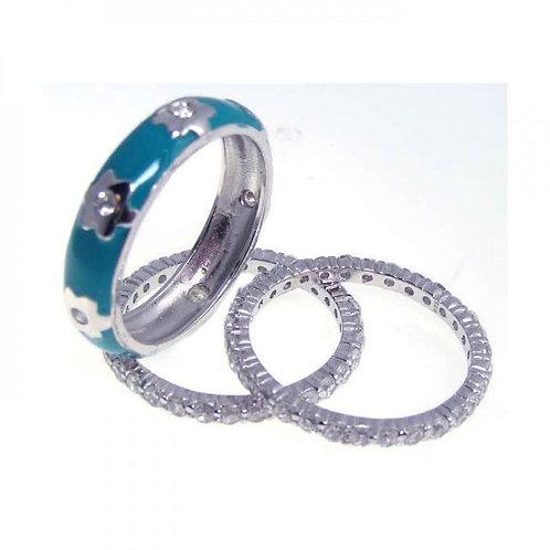 Blue Enamel Stacking Ring Set