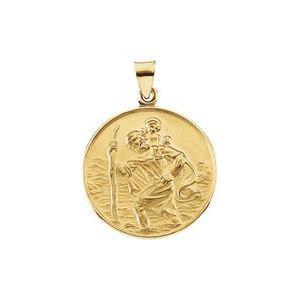 18K Yellow 13 mm St. Christopher Medal