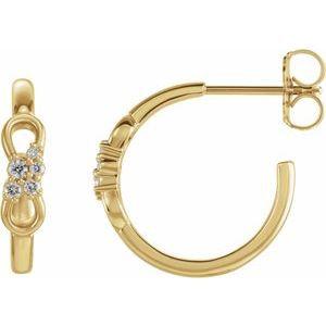 14K Yellow .08 CTW Diamond Infinity-Inspired Hoop Earrings