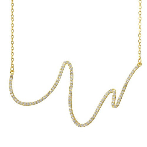 925 Gold Plated Wave Design with CZ Necklace