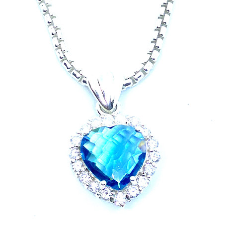 Blue Crystal Sterling Silver Heart Necklace