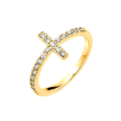 925 Sterling Silver Gold Plated Cross Ring