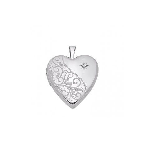 HEART PHOTO PENDANT LOCKET WITH DIAMOND ACCENT