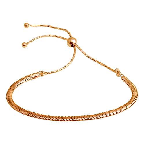925 Rhodium Plated Omega Chain Lariat Bracelet