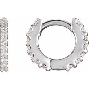 14K White 1/3 CTW Diamond 12.6 mm Hoop Pair of Earrings