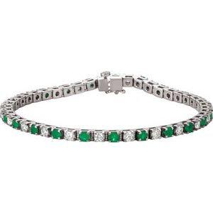 "14K White Emerald & 2 1/3 CTW Diamond Line 7""  Bracelet"