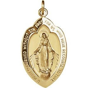14K Yellow 20x13 mm Oval Miraculous Medal Pendant