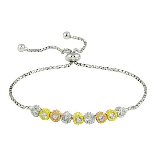 925 Rhodium Plated Linked Tri Color Circles with CZ