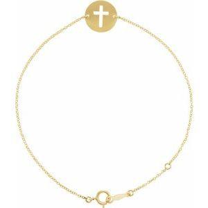"""14K Yellow Pierced Cross Disc 7-8"""" Bracelet"""
