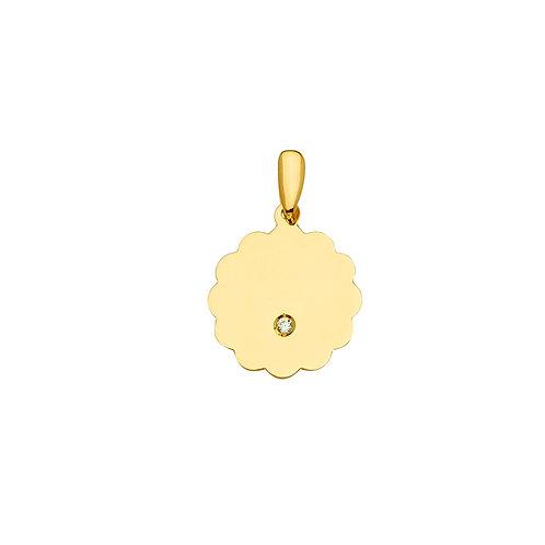 14KY Engravable CZ Flower- Round Pendant