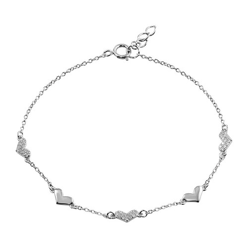 925 Rhodium Plated CZ Hearts Chain Bracelet